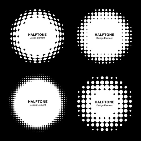 grunge frame: Set of Abstract White Halftone Design Elements, vector illustration Stock Photo