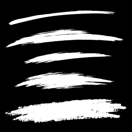 freehand: Set of White Hand Drawn Grunge Brush Smears, vector illustration