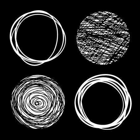 ball pen: Set of White Hand Drawn Scribble Circles, vector design elements Illustration