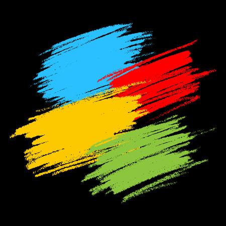 garabatos: Las manchas del garabato de colores sobre fondo Negro, elementos de diseño vectorial
