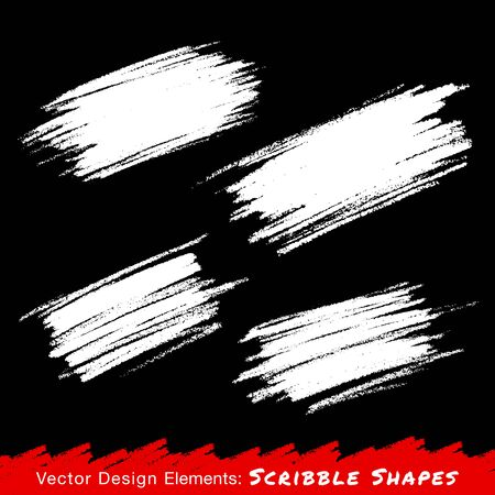 White Hand drawn Scribble Stains, vector logo design elements
