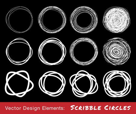Set of White Hand Drawn Scribble Circles