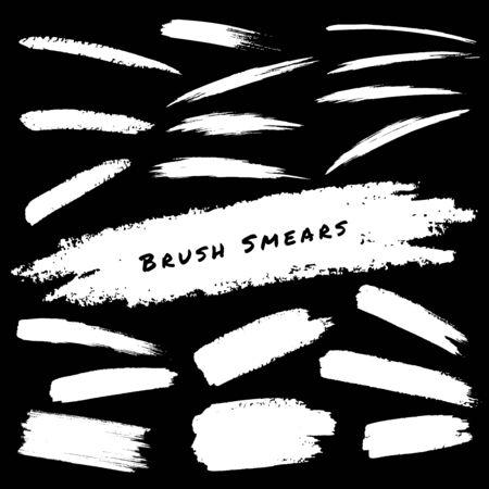 smears: Set of White Hand Drawn Grunge Brush Smears, vector illustration