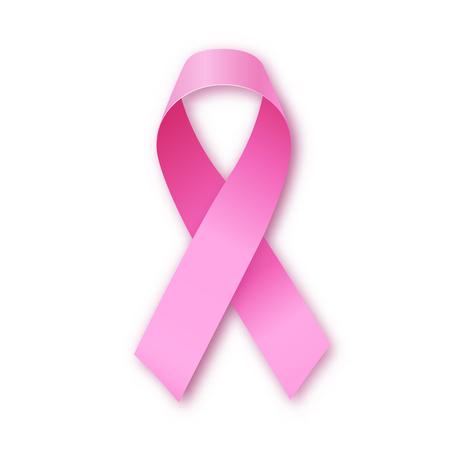 Light realistic pink ribbon icon, breast cancer awareness symbol, vector illustration Illustration