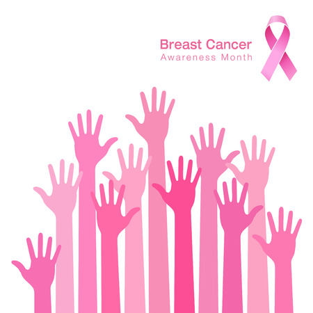 cancer prevention: Breast cancer awareness and  people hands background and pink ribbon icon, vector illustration