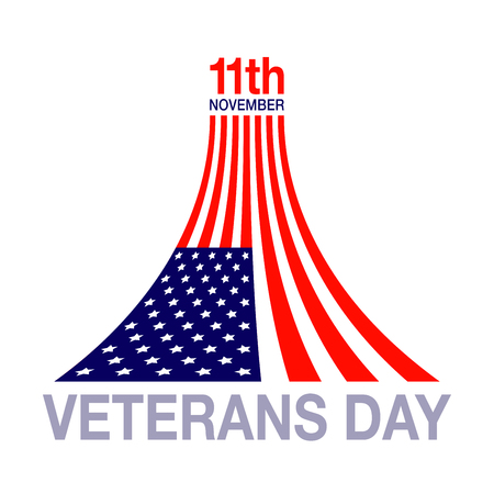 veterans day: Veterans day flag design logo on white background. Vector illustration