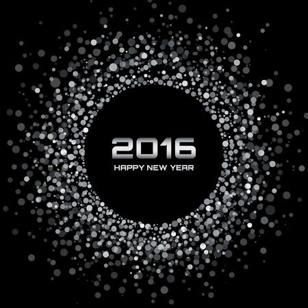 schneeflocke: Wei� - Schwarz Neujahr 2016 Hintergrund, Vektor-Illustration Illustration
