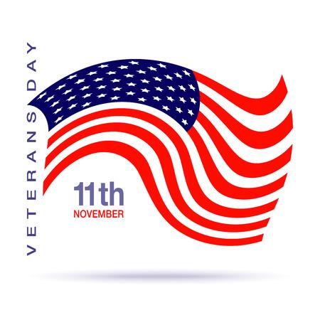 verticales: Veteranos día logotipo de diseño de la bandera en el fondo blanco. Ilustración vectorial