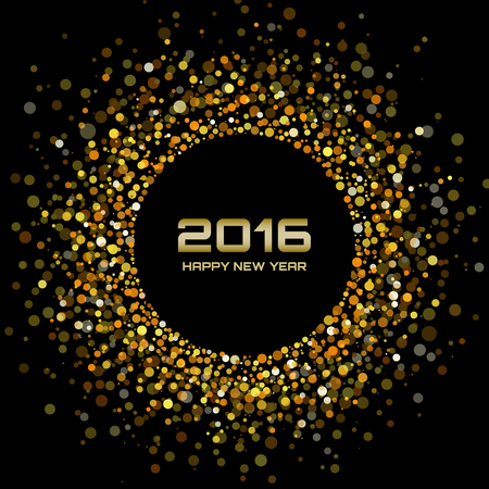 round dot: Gold Bright New Year 2016 Background, vector illustration
