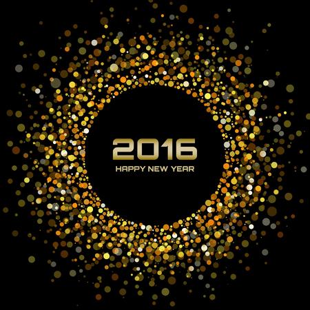 marcos redondos: Oro brillante A�o Nuevo 2016 de fondo, ilustraci�n vectorial