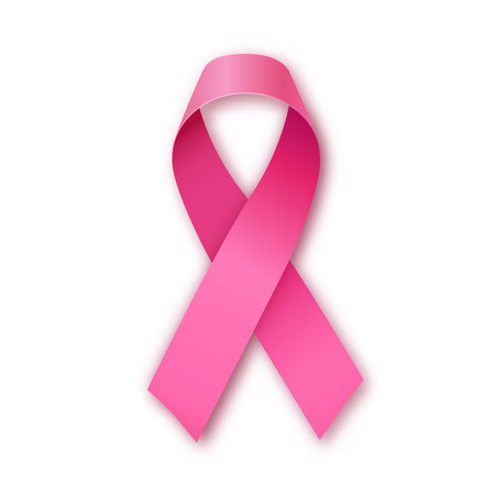 senos: Brillante de color rosa realista icono de cinta, símbolo de la conciencia del cáncer de pecho, ilustración vectorial
