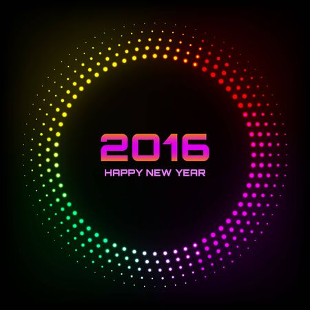 nightclub party: Colorful Bright Abstract Halftone New Year 2016 Background, vector logo illustration Illustration