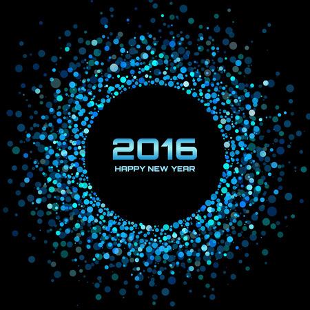 fiestas electronicas: Azul brillante año nuevo 2016 de fondo, ilustración vectorial
