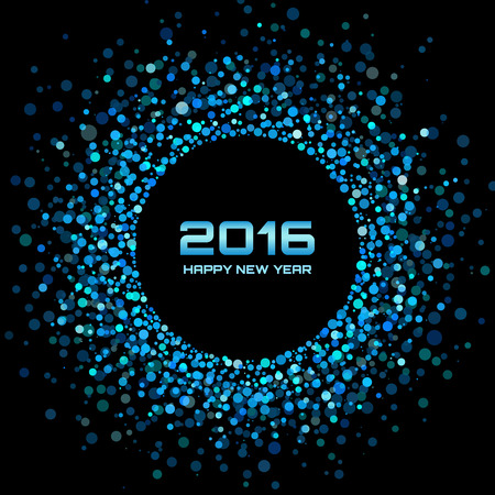 black and blue: Blue Bright New Year 2016 Background, vector illustration