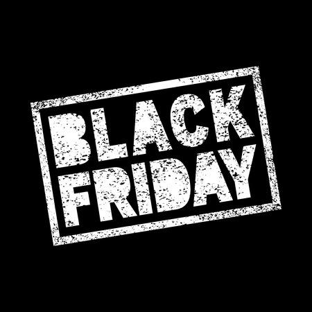 persone nere: Venerd� nero vendita scarabocchio grunge timbro bianco su sfondo nero, illustrazione vettoriale per il disegno di affari.
