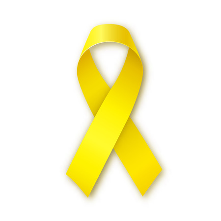 bone cancer: Yellow awareness ribbon on white background. Bone cancer and troops support symbol. Vector illustration Stock Photo