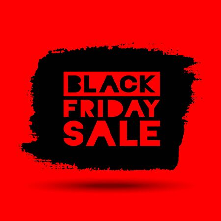 red black: Black Friday Sale hand drawn grunge stain on red background, vector illustration