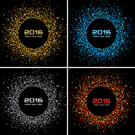 nouvel an: Ensemble de lumineuses et color�es du Nouvel An 2016 Fond, illustration vectorielle