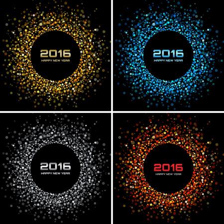 nowy rok: Zestaw kolorowych Jasny Nowego Roku 2016 tła, ilustracji wektorowych