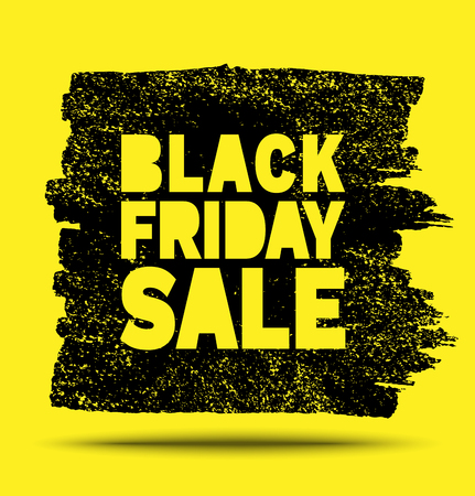 Black Friday Sale hand drawn yellow grunge stain on black background, vector illustration  イラスト・ベクター素材