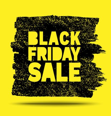 Black Friday Sale hand drawn yellow grunge stain on black background, vector illustration Illustration