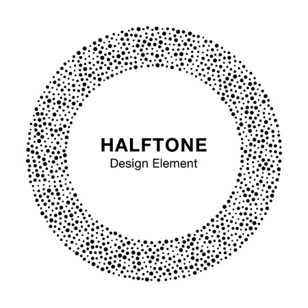 circle icon: Black Abstract Halftone Frame Circle Dots Logo Design Element, vector illustration Illustration