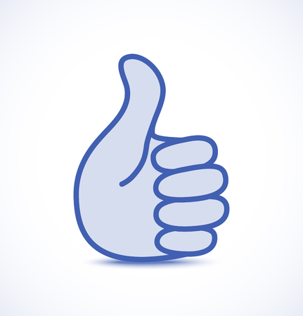 Blue thumb up icon, vector logo illustration Illustration