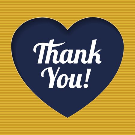 paper cutout: Card template with  heart icon and retro Thank You text. Paper cutout.