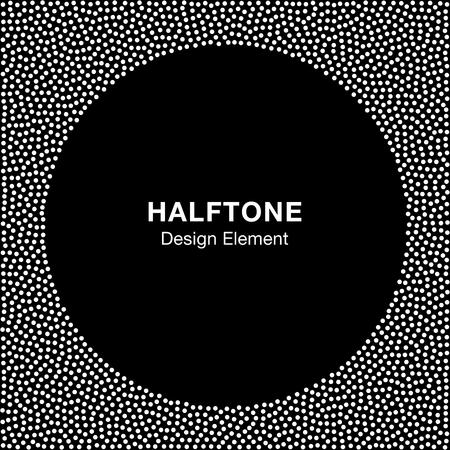 Abstract Halftone Wit Stip frame op zwarte achtergrond. Cirkel Achtergrond. illustratie Vector Illustratie