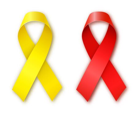 childhood cancer: Cancer Awareness Red and Yellow Ribbons. World Cancer Day. Childhood Cancer Day. Illustration