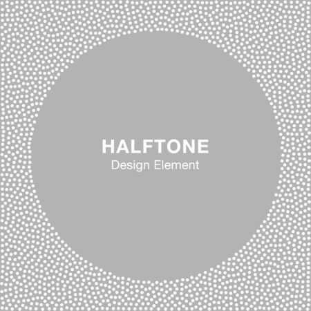 silver circle: Abstract Halftone White Dots Frame on Gray Silver Background. Circle Jewelry Background. illustration