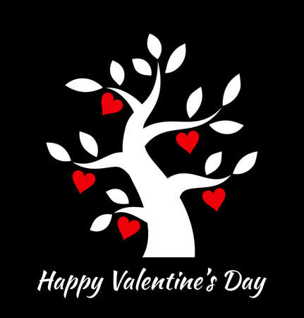 tree design: Valentines day vintage tree with hearts icon. Valentine day card concept. design.