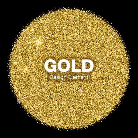 Golden Bright Glowing Circle on black Background. Jewelry Gold Emblem  Concept. Background Illustration