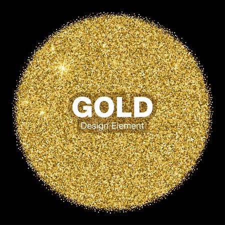 Oro brillante círculo brillante en fondo del negro. Concepto de la joyería del oro del emblema. Ilustración de fondo