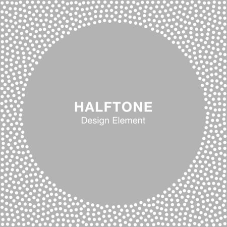white frame: Abstract Halftone White Dots Frame on Gray Silver Background. Circle Jewelry Background. illustration
