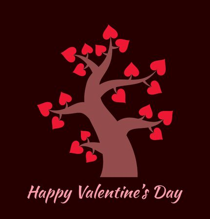 Valentines day vintage tree with hearts icon. Valentines day card concept. Vector logo design.