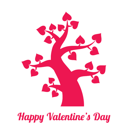 saint valentine s day: Valentines day vintage red tree with hearts icon. Pink Valentines day card concept. Vector logo design. Stock Photo