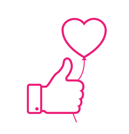 balloon vector: linear Outline Pink thumb up icon with pink heart balloon, love vector illustration. Valentines day card concept. Valentines day icon Stock Photo