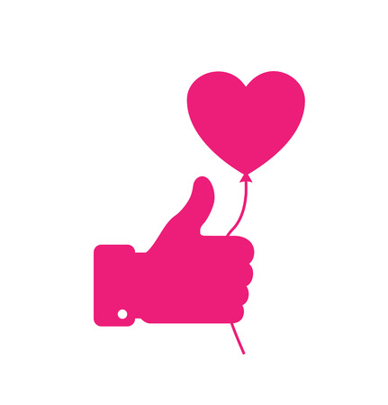 Pink thumb up icon with pink heart balloon, love vector illustration.  Valentines day card concept. Valentines day icon
