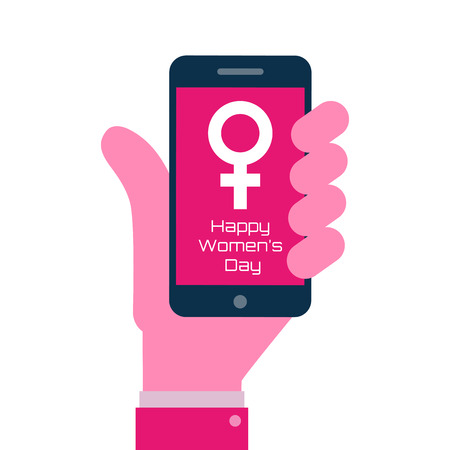 international: Happy International Womens Day - Smartphone on hand flat icon. 8 March day greeting card. Vector illustration.