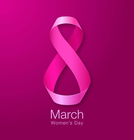 mar: Happy Womens Day Paper Design.  Realistic Ribbon March 8 greeting card. Vector illustration.