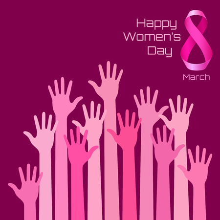 Happy International Womens Day Greeting Card Design. Pink hands background for 8 March Day. Vector illustration