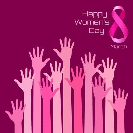 Diseño feliz de la tarjeta de felicitación Día Internacional de la Mujer. fondo manos de color rosa para el 8 de Marzo Día. ilustración vectorial