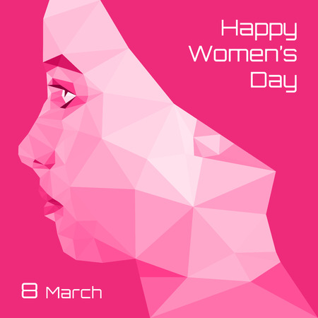 Profile of Modern Girl. Geometric triangular. Happy International Womens Day Greeting Card Design.  Typographic Composition for 8 March Day. Vector Illustration