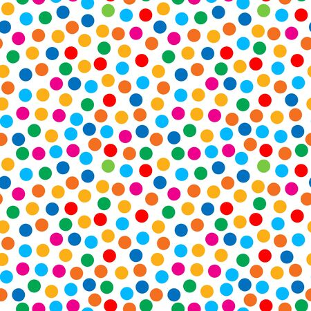 textile industry: Rainbow bright dots seamless pattern for textile cloth industry. Birthday confetti rounds.