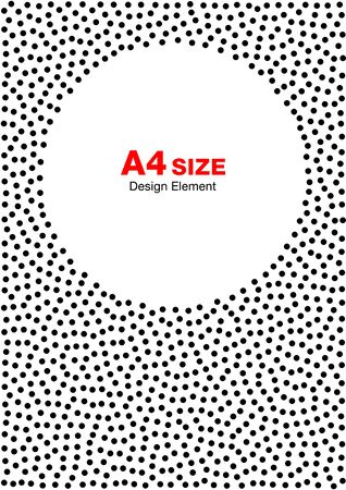 size: Abstract Halftone Dots Frame. Circle Background. A4 size, a4 format.
