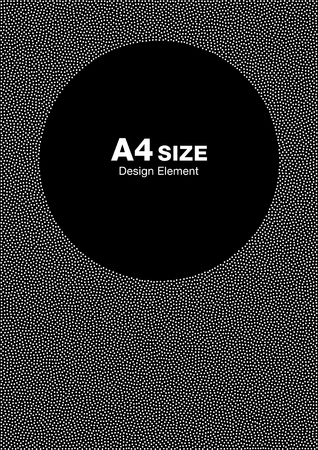 a4: White Abstract Halftone Dots Frame on Black Background. Circle Backdrop. A4 size, a4 format. Vector illustration