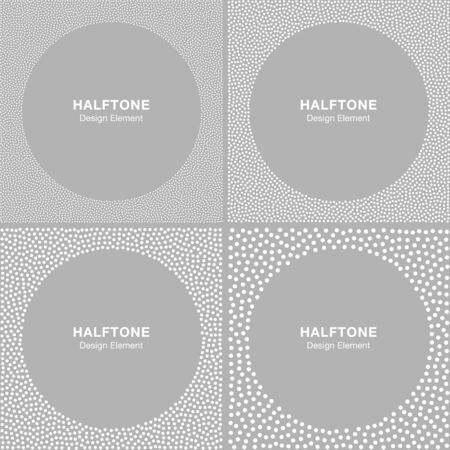 silver jewelry: Set of Abstract Halftone White Dots Frames on Gray Silver Background. Circle Jewelry Backgrounds. Illustration