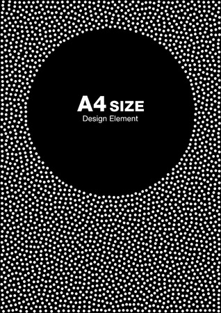 size: White Abstract Halftone Dots Frame on Black Background. Circle Backdrop. A4 size, a4 format. illustration Illustration