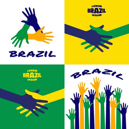 Set of colorful up hands icons using Brazil flag colors . Hands Icon, emblem using Brazil flag colors. Hand shake using Brazil background flag colors. illustration.